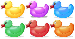Six colorful rubber ducks. Illustration of the six colorful rubber ducks on a white background stock illustration