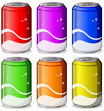 Six colorful soda cans Stock Image