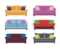 Six colorful sofas Royalty Free Stock Image