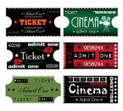 Six colorful tickets. Colorful illustration with six tickets made in various styles Royalty Free Stock Images