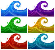 Six colorful waves Stock Photography