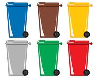 Six colorful wheelie bins for various types of recycling on a white background. An illustration of six colorful wheelie bins for different types of refuse and Stock Photography
