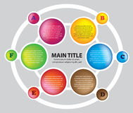 Six colors circles layout Stock Photo