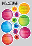 Six colors circles layout with alphabets Stock Photography