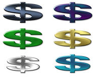 Six colour dollars sign Stock Image