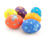 Six colour eggs with ornament on white Royalty Free Stock Image