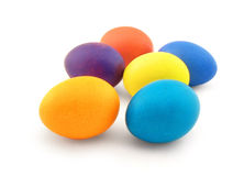 Six colour eggs on white Royalty Free Stock Photo