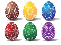 Six coloured Easter Eggs Royalty Free Stock Photography