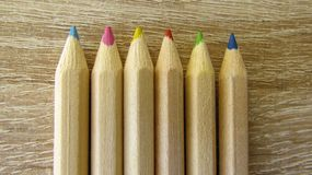 Six coloured pencils stock photography
