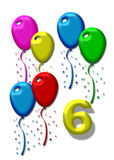 Six colourful balloons Royalty Free Stock Photography