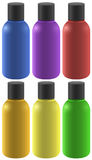 Six colourful bottles Stock Photos