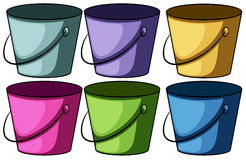 Six colourful buckets Royalty Free Stock Photo