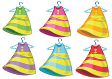 Six colourful dresses Stock Image