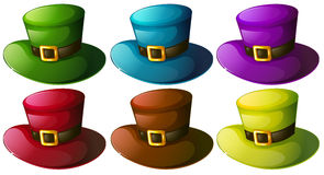 Six colourful hats Royalty Free Stock Image