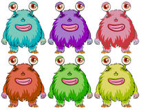 Six colourful monsters Royalty Free Stock Image