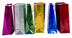Six Colourful paper shopping bags Royalty Free Stock Photography