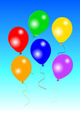 Six colourful party balloons Stock Image