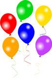 Six colourful party balloons Stock Photography
