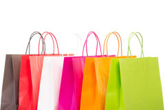 Six colourful shopping bags Stock Photos