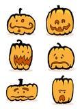 Six comic jack-o-lanterns. Set of six stylized humorous cartoon Jack o' lanterns Stock Photography