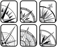 Six Compass Icons. Six Black and White Directional Compass Icons Stock Images