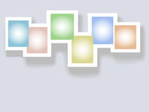 Six Complementary Colors Copyspaces in Frames. Background of six rectangle box copy spaces of complementary colors in a white frame with drop shadow Stock Images