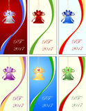 Six congratulation card to Christmas and New Year Royalty Free Stock Photo