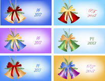 Six congratulation card to Christmas and New Year. Four congratulation card to Christmas and New Year. PF - Pour Feliciter mean Best Wishes Stock Image