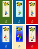 Six congratulation card to Christmas and New Year. PF - Pour Feliciter mean Best Wishes Stock Photos