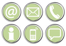 Six contact us icons button set Royalty Free Stock Images