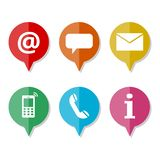 Six contact us icons set. On white background royalty free illustration