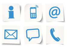 Six contact us icons on sticky notes Stock Image