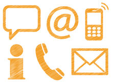 Six contact us scribble icons Stock Images