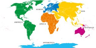 Six continents, political world map, with borders vector illustration