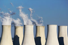 Six cooling towers of nuclear power plant Royalty Free Stock Image