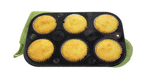 Corn Muffins Baking Tin on Mit Royalty Free Stock Photography