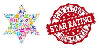 Six Corner Star Composition of Mosaic and Textured Stamp for Sales vector illustration