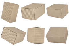 Six corrugated cardboard packages Royalty Free Stock Photography