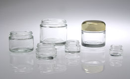 Six Cosmetic Jars Stock Photos