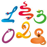 Six crazy snakes. Six funny and crazy snakes vector illustration