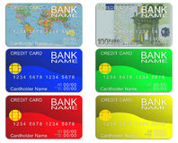 Six credit card Royalty Free Stock Photos
