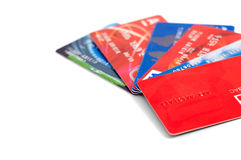 Six credit cards collection. Isolated on white Stock Images