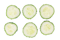 Six cucumber slices isolated on white background Stock Image