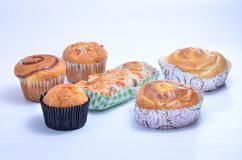 Six cup cakes royalty free stock image