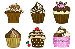 Six cupcakes collection isolated on white. Illustration of six cupcakes collection isolated on white Royalty Free Stock Images