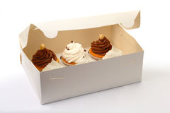 Six Cupcakes are in the Delivery Box over white background. A delivery box contains three cakes over white background Royalty Free Stock Photos