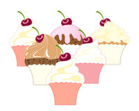 Six cupcakes Stock Photography