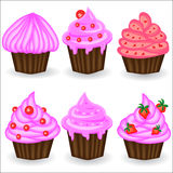 Six cupcakes with pink cream, berries and powder. Sweet, dessert royalty free illustration
