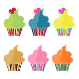 Six cupcakes Stock Images