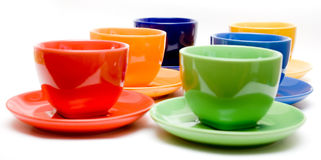 Six cups stock image